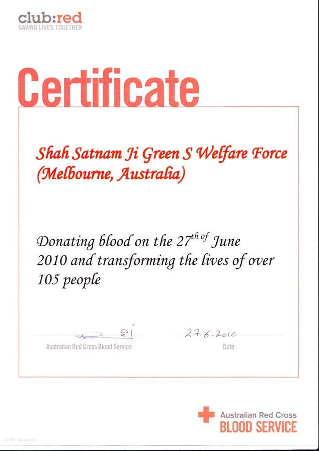 blood donation on 27 june 2010